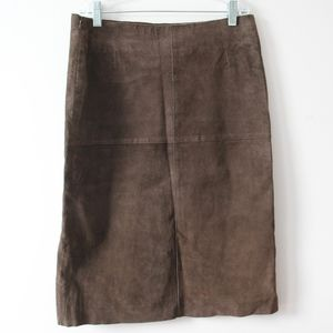 Genuine Suede Skirt Chocolate Brown